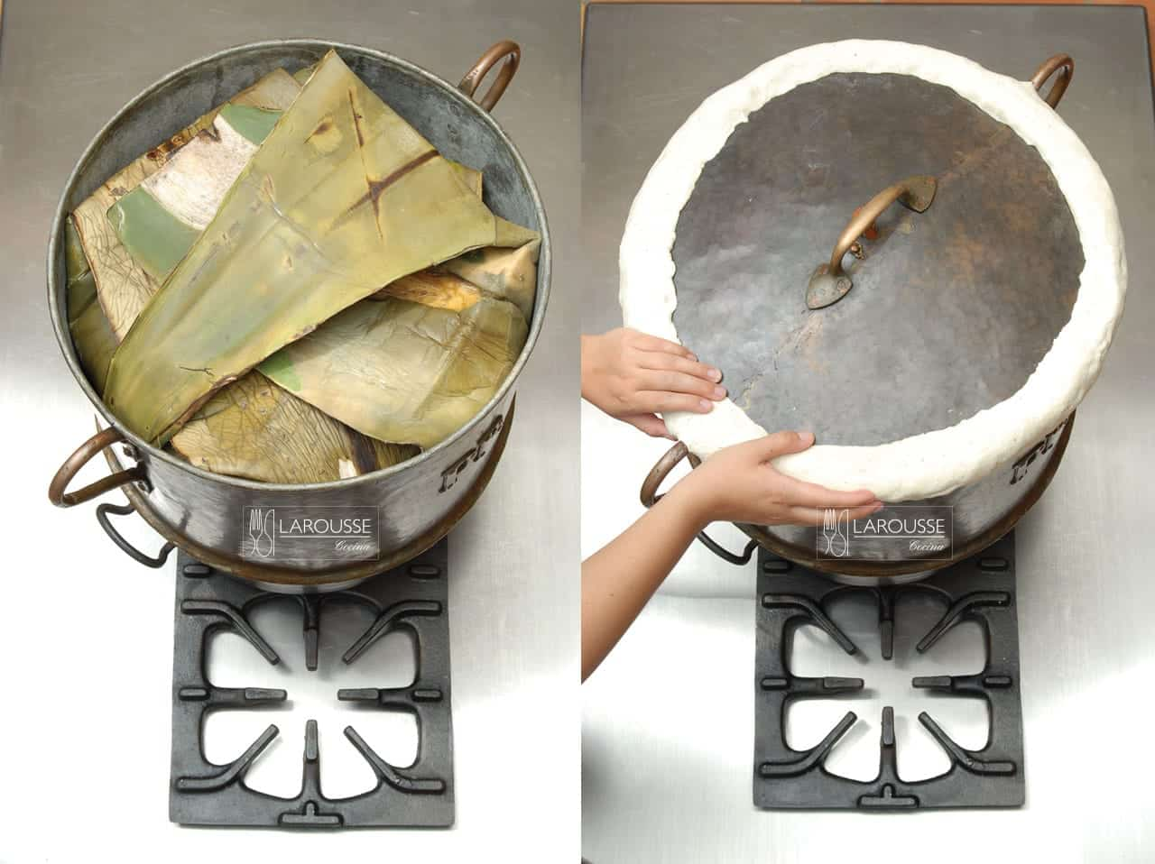 <p>Tape la vaporera y selle el borde con lamasa de maíz. Cocine la barbacoa a fuego bajo entre12 y 14 horas.</p>