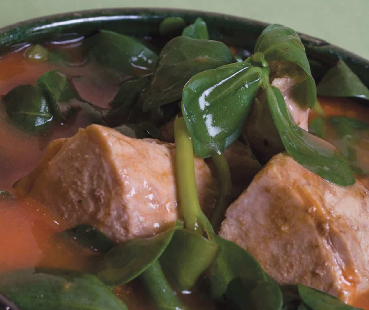 Foto: Guiso, carne de puerco con verdolagas. (Vivian Bibliowicz).