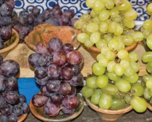 Foto: Fruto, racimos de uvas verdes y moradas. © Shutterstock.