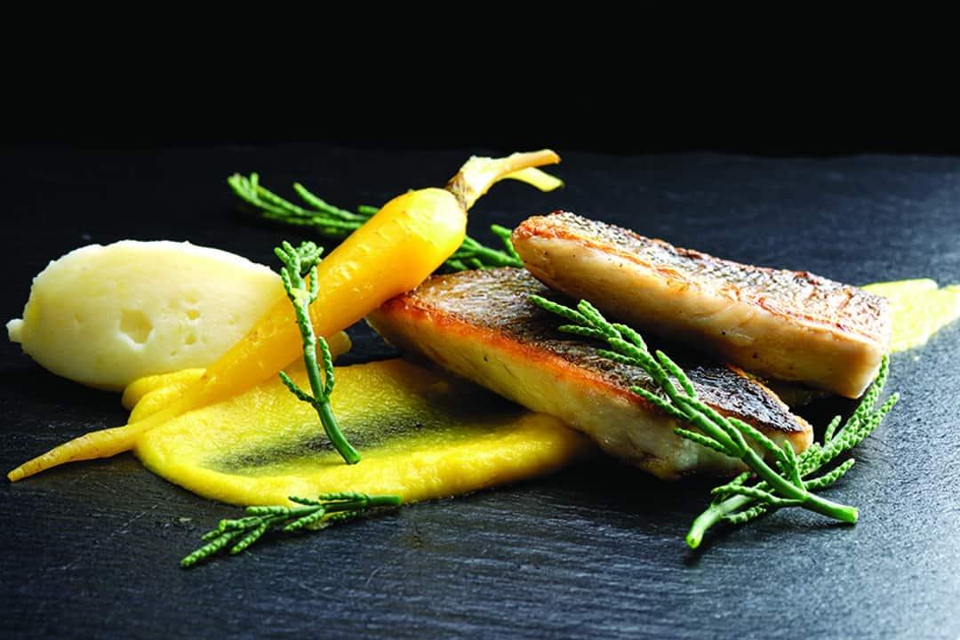 Lubina con puré de zanahoria, salicornias y puré de papa. Foto: Shutterstock.
