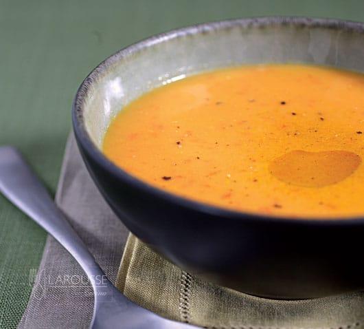 Sopa fría de calabaza con leche de coco
